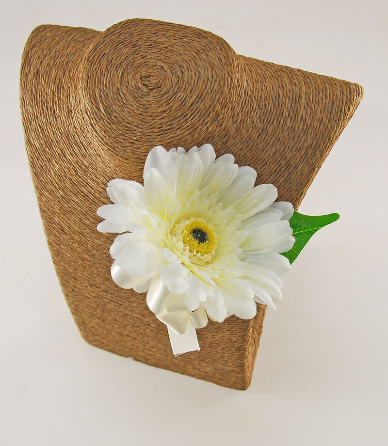 Ivory Silk Gerbera Wedding Guest Buttonhole with Ivory Ribbon