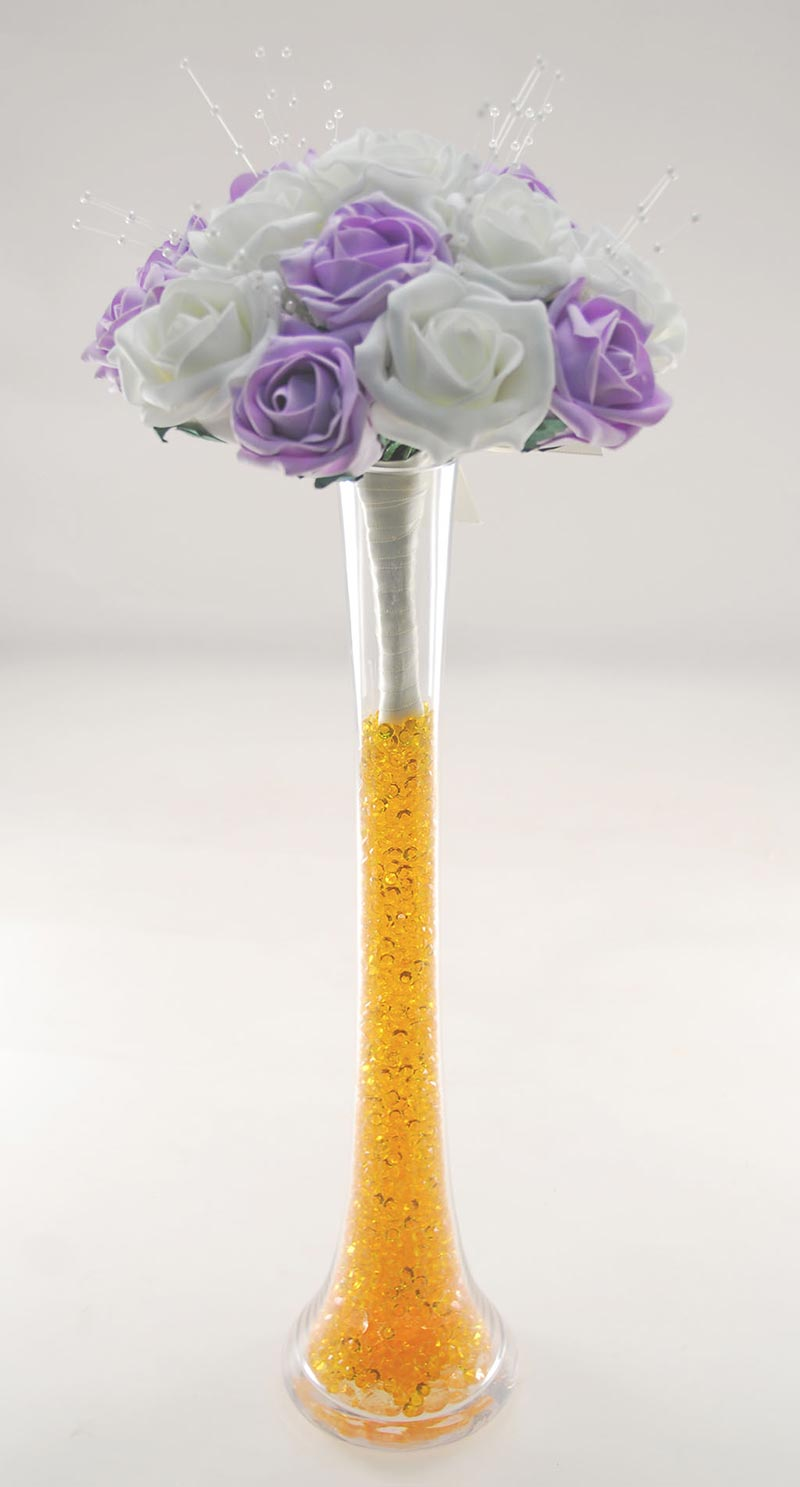 Lilac & Ivory Rose Table Vase Posy with Pearl Strands