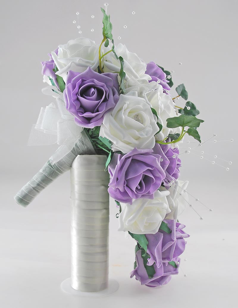 Lilac & Ivory Rose Evie Wedding Shower Package, Brides Shower, Bridesmaids Bouquet, Flower Girl Posy, Wand, Grooms Buttonhole