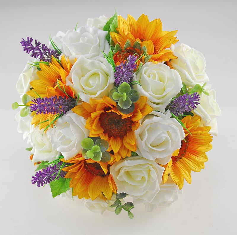 Golden Sunflower, Pale Lemon & Ivory Rose Zoe Wedding Flower Package