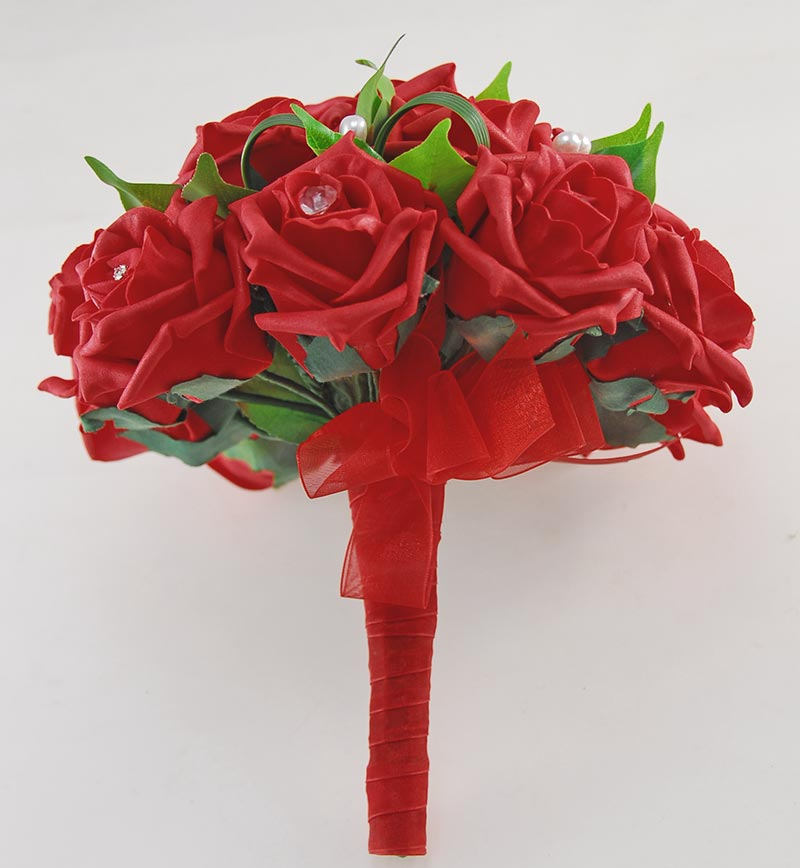 Brides Red Diamante Rose Valentines Day Wedding Bouquet