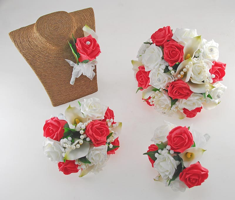 Victoria Pearl, Ivory Calla Lily, Coral & Ivory Rose Wedding Flower Package