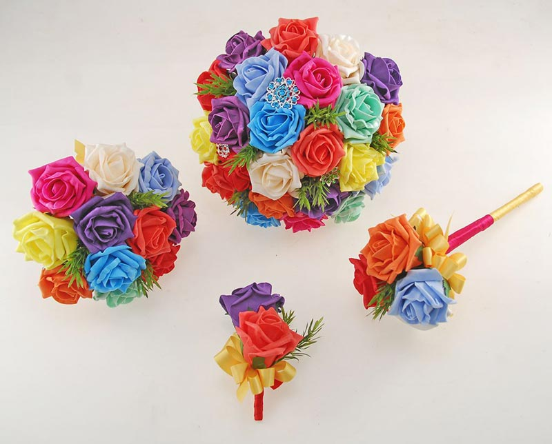 Kaleidoscope Foam Rose Wedding Flower Package with Turquoise