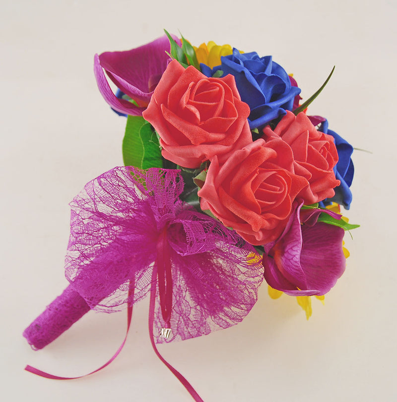 Magenta Orchid, Gerbera, Royal Blue & Coral Rose Kimberley Wedding Package, Brides Bouquet, Bridesmaids Posy, Grooms Buttonhole