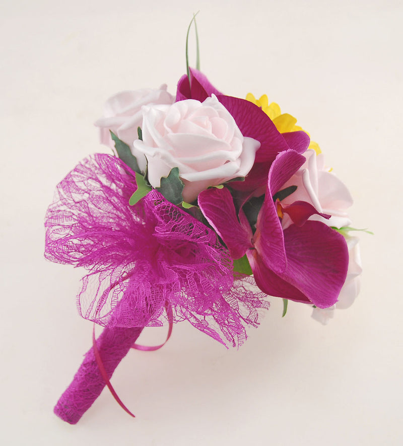 Magenta Orchid, Yellow Gerbera, Light Pink Rose Kimberley Wedding Package, Brides Bouquet, Bridesmaids Posy, Grooms Buttonhole