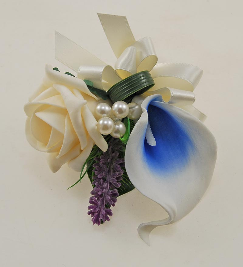 Ladies Blue Calla Lily & Cream Rose Pin on Corsage with Pearls & Lavender