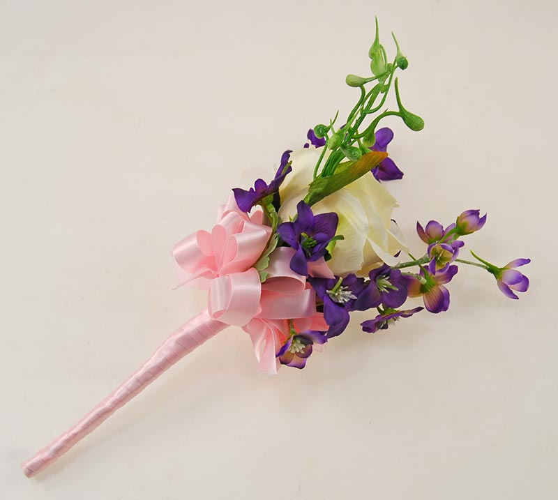 Large Ivory Silk Rose & Purple Delphinium Flower Girl Wedding Wand