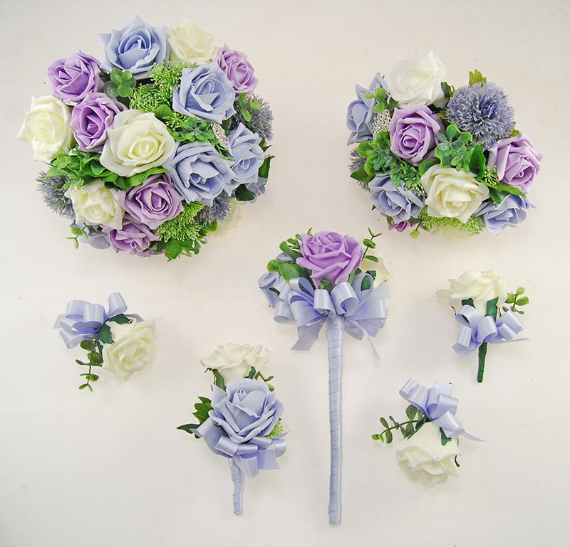 Lemon, Lilac & Steel Blue Foam Rose Molly Foliage Wedding Flower Package