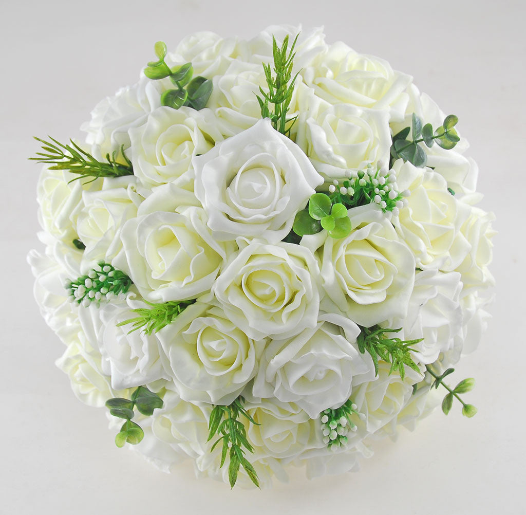 Wedding Flowers On A Budget Uk: Lemon & Ivory Artificial Rose Bridal Bouquet With