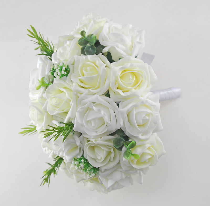 Lemon & Ivory Artificial Rose Bridal Bouquet with Gypsophila