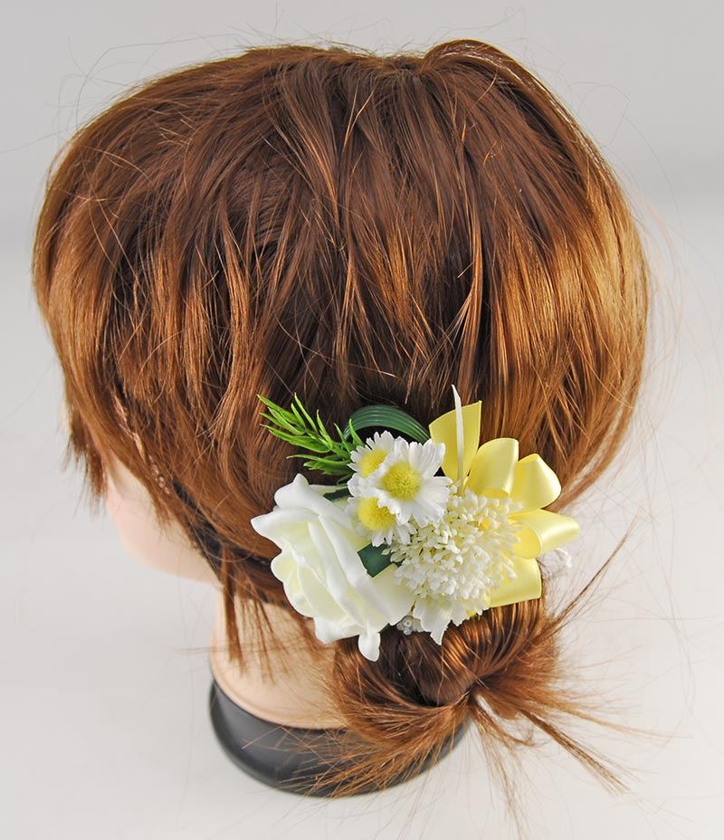 Lemon Rose, Daisy & Elderflower Wedding Hair Comb with Yellow Bow