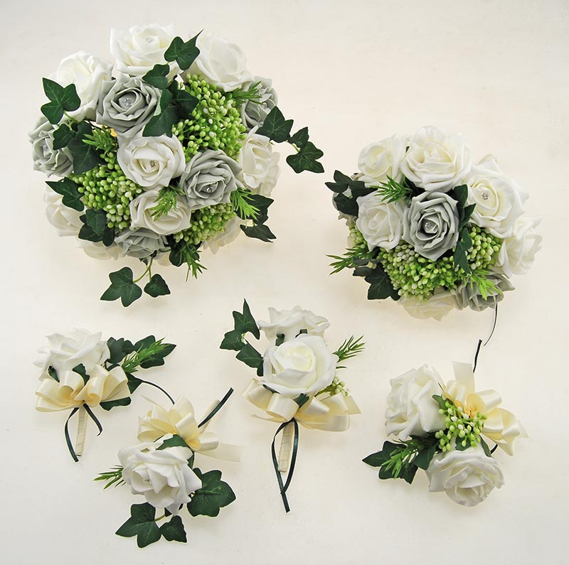 Ivory, Light Grey Diamante Rose, Green Berry & Ivy Agatha Wedding Package
