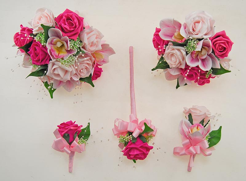 Light & Cerise Pink Rose, Orchid & Pearl Ophilla Wedding Package