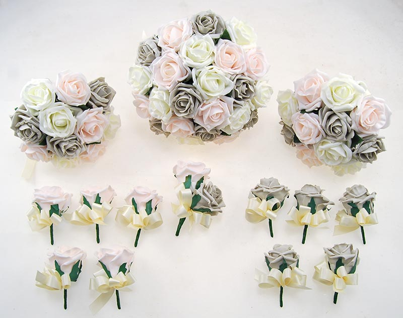 Light Grey, Pink & Ivory Foam Rose Wedding Flower Package with Brides Bouquet, Bridesmaids Posies, Groom, Guest Buttonholes