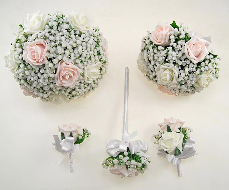 Light Pink, Ivory Foam Rose & Artificial Gypsophila Yula Wedding Package