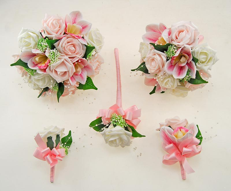 Light Pink, Ivory Rose, Pink Orchid & Pearl Ophilla Wedding Package