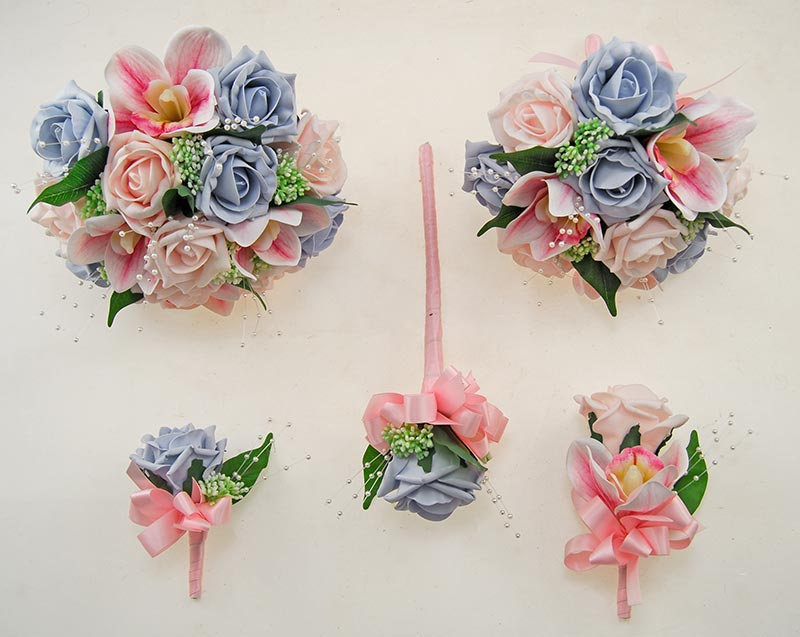 Light Pink Rose, Orchid, Steel Blue Rose, Gyp & Pearl Ophilla Wedding Package