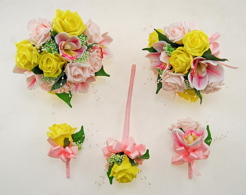 Light Pink, Yellow Rose, Pink Orchid & Pearl Ophilla Wedding Package