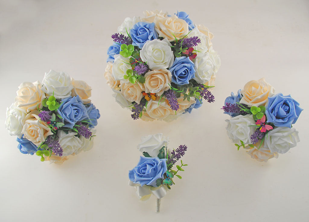 Light Blue, Cream & Ivory Rose Butterfly and Lavender Wedding ...