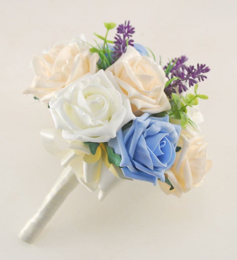 Light Blue, Cream & Ivory Rose Butterfly and Lavender Wedding Flower Package with Brides Bouquet, Bridesmaids Posy, Flower Girl Posy, Grooms Buttonhole
