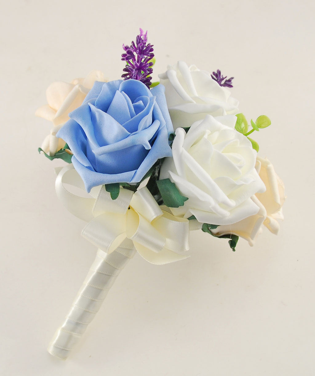 Light blue cream ivory rose butterfly and lavender wedding flower light blue cream ivory rose butterfly and lavender wedding flower package with brides bouquet bridesmaids posy flower girl posy grooms buttonhole izmirmasajfo
