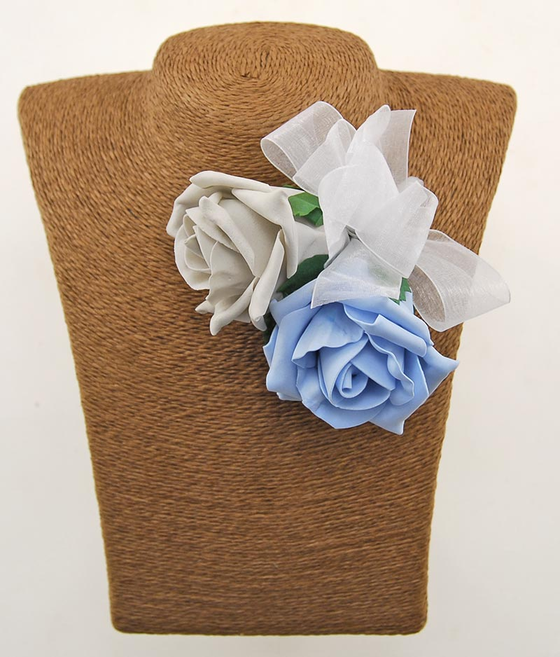 Light Blue & Grey Foam Rose Wedding Day Mothers Pin Corsage