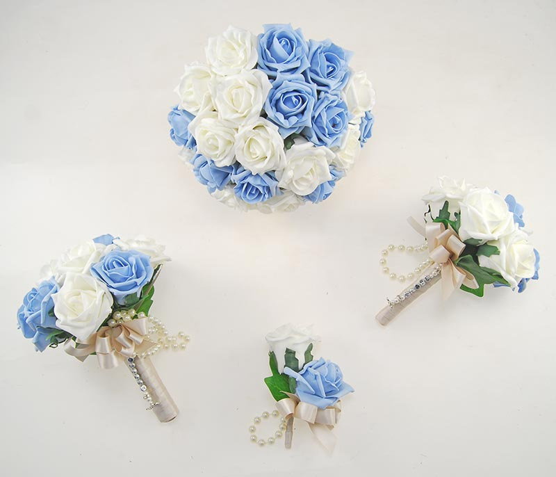 Light Blue, Ivory Foam Rose Handle Name Charm Wedding Vanessa Package