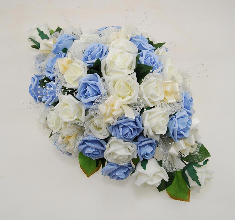 Light Blue, Ivory Artificial Rose & Pearl Wedding Top Table Arrangement