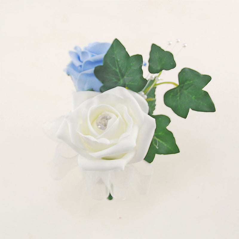 Light Blue & Ivory Rose Evie Wedding Shower Package, Brides Shower, Bridesmaids Bouquet, Flower Girl Posy, Wand, Grooms Buttonhole