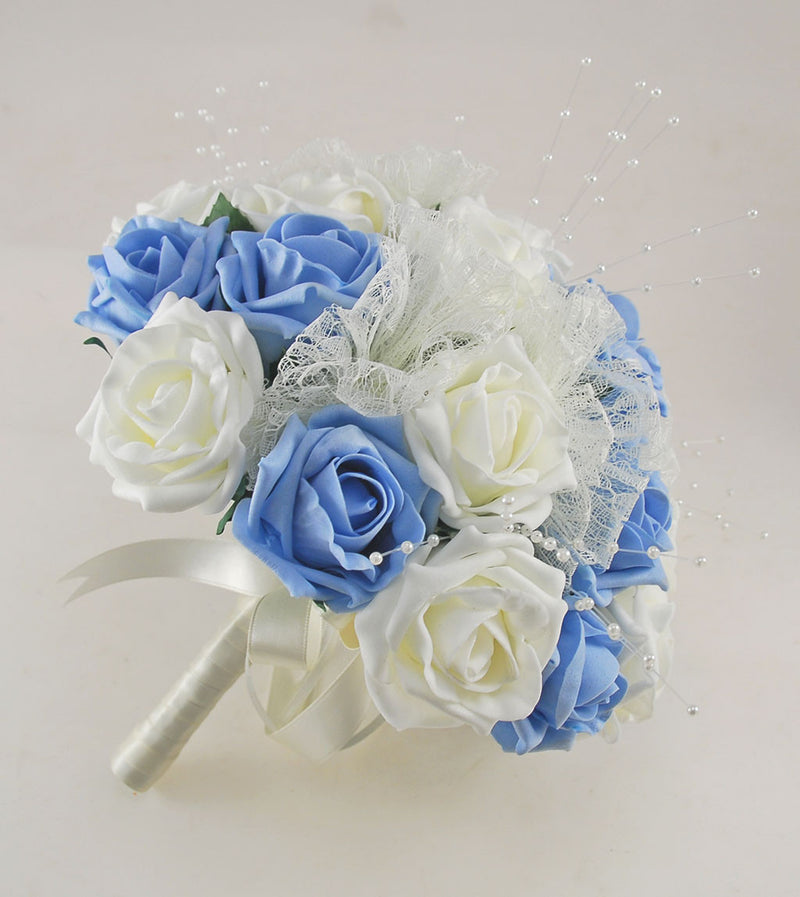 Light Blue and Ivory Rose Wedding Flower Package, Pearl Strands & Lace Brides Bouquet, Bridesmaids Posies, Flower Girl Wand, Groom, Guest Buttonholes