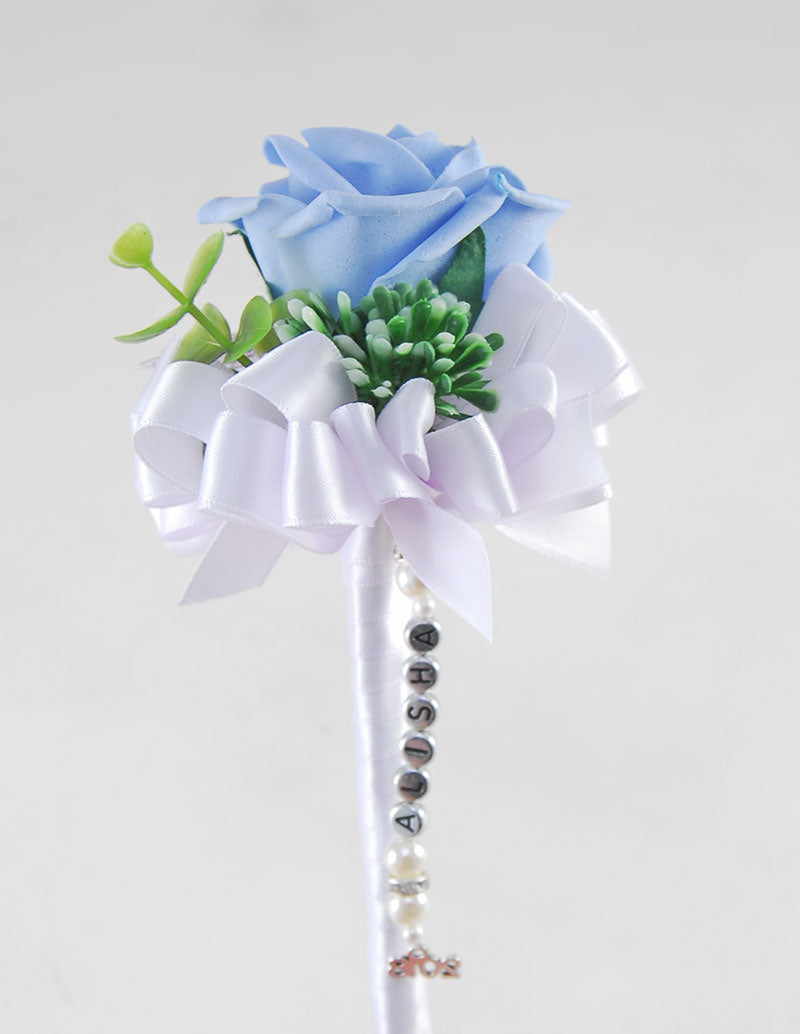 Light Blue Rose Wedding Wand with Name Charm Handle