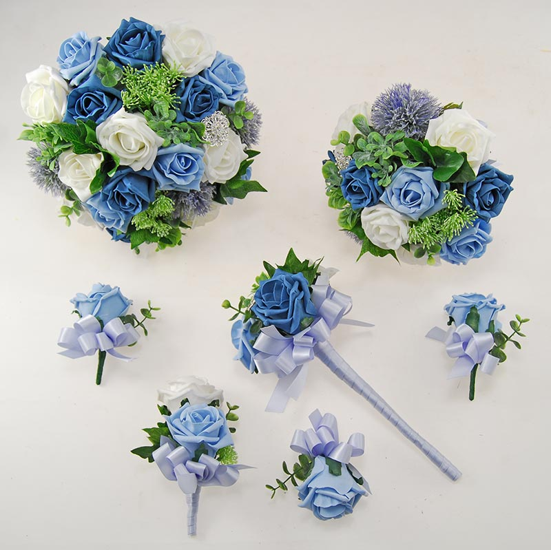 Light Blue & Teal Rose Molly Foliage Wedding Flower Package