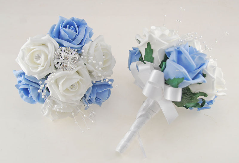 Light Blue and White Diamante Foam Rose, Brooch Wedding Flower Package with Brides Bouquet, Bridesmaids Posies, Grooms Buttonhole