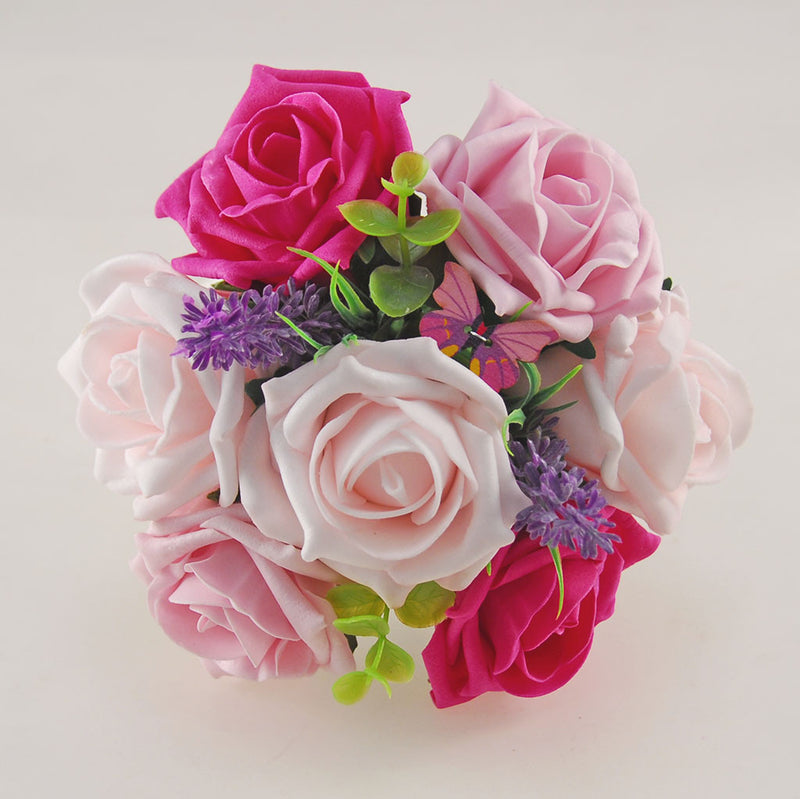 Light, Dusky and Cerise Pink Rose, Butterfly and Lavender Wedding Flower Package with Brides Bouquet, Bridesmaids Posy, Flower Girl Posy, Grooms Buttonhole