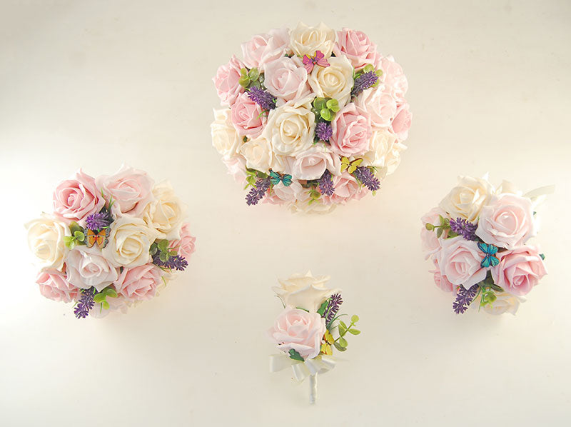 Light, Dusky Pink & Cream Rose Butterfly and Lavender Wedding Flower Package with Brides Bouquet, Bridesmaids Posies, Grooms Buttonhole