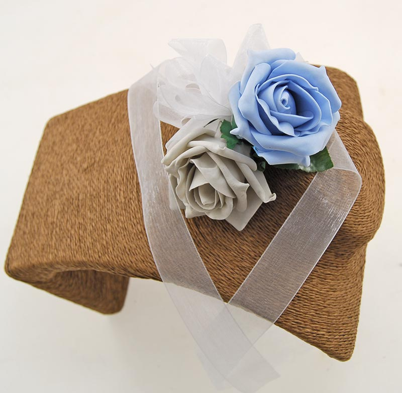 Light Grey & Blue Rose, Organza Ribbon Tied Wrist Corsage