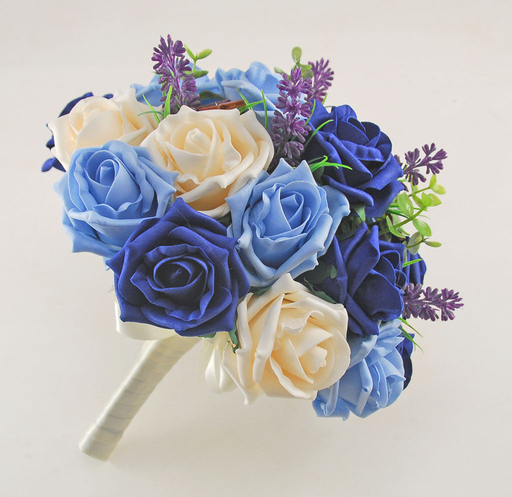 Light navy blue cream rose butterfly and lavender wedding flower light navy blue cream rose butterfly and lavender wedding flower package with brides bouquet bridesmaids posy flower girl posy grooms buttonhole izmirmasajfo