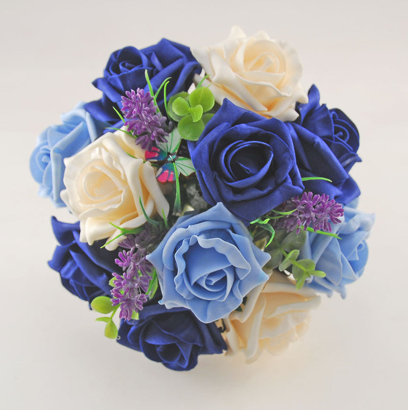 Light & Navy Blue, Cream Rose, Butterfly and Lavender Wedding Flower Package with Brides Bouquet, Bridesmaids Posy, Flower Girl Posy, Grooms Buttonhole
