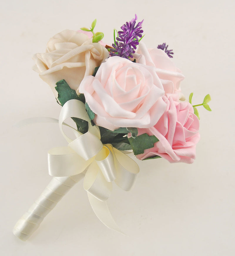 Light Pink, Dusky Pink and Mocha Rose, Butterfly and Lavender Wedding Flower Package with Brides Bouquet, Bridesmaids Posy, Flower Girl Posy, Grooms Buttonhole