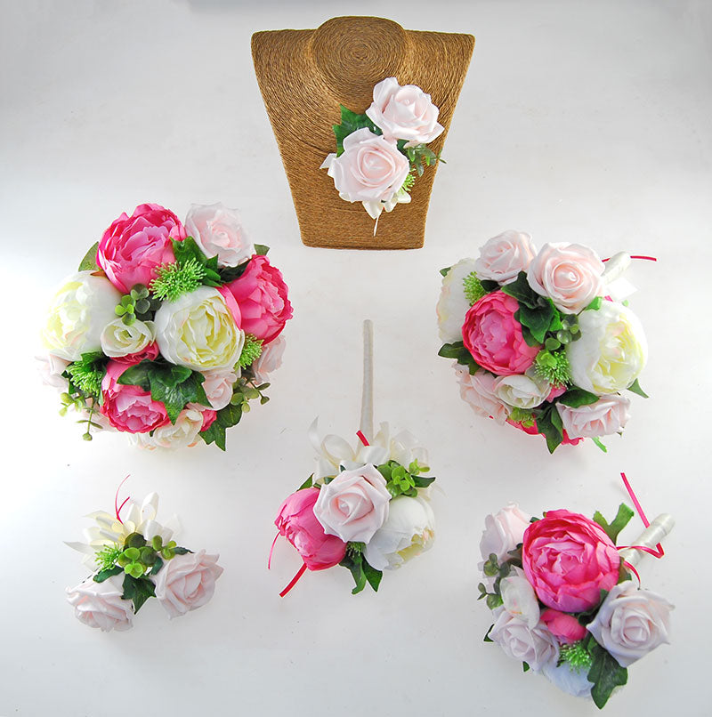 Light Pink Foam Rose & Cerise Silk Peony Grace Wedding Flower Package