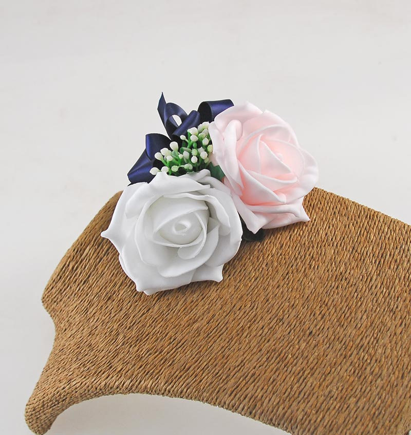 Light Pink, Ivory & Gypsophila Wedding Corsage with Navy Ribbon