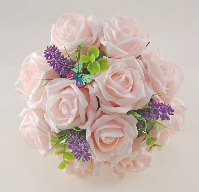 Light Pink Rose, Butterfly and Lavender Wedding Flower Package with Brides Bouquet, Bridesmaids Posy, Flower Girl Posy, Grooms Buttonhole