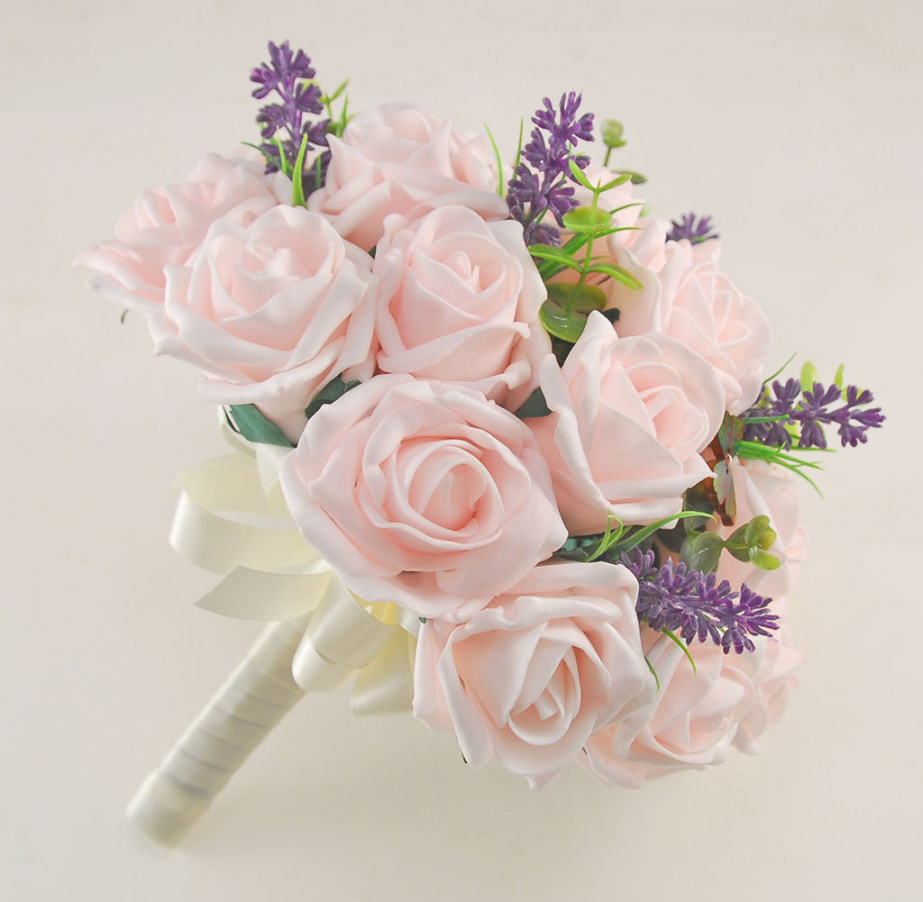 Light Pink Rose Butterfly And Lavender Wedding Flower Package With