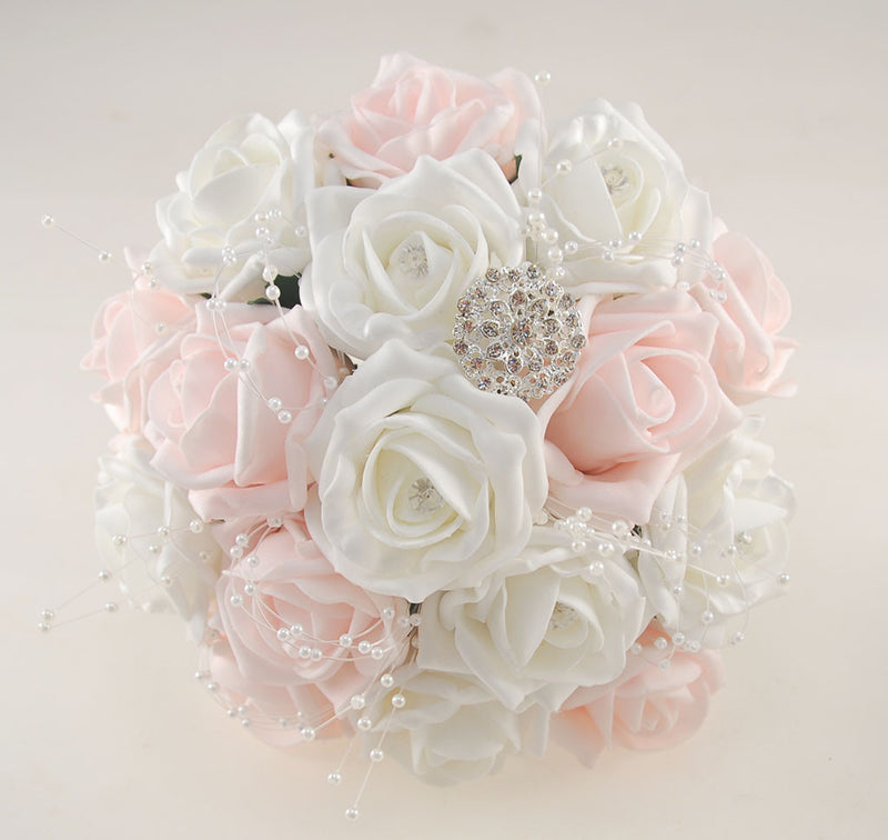 Light Pink and White Diamante Foam Rose, Brooch Wedding Flower Package with Brides Bouquet, Bridesmaids Posies, Grooms Buttonhole