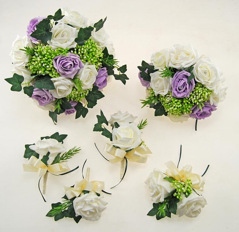 Ivory, Lilac Diamante Rose, Green Berry & Ivy Agatha Wedding Package