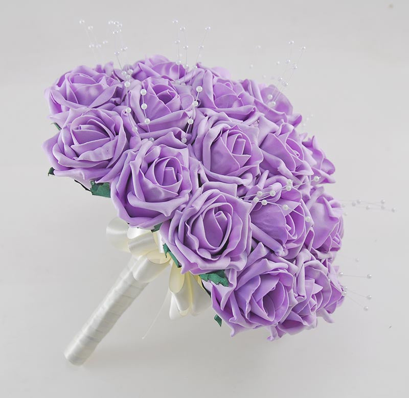 Lilac Foam Rose & Pearl Bridal Wedding Posy Bouquet