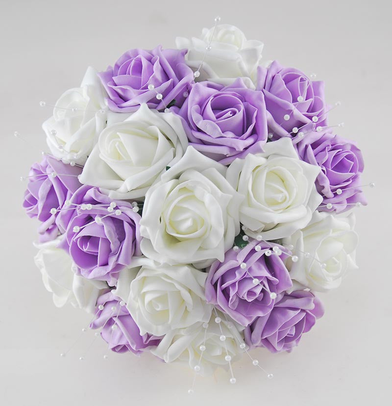 Lilac & Ivory Artificial Foam Rose Bridesmaids Wedding Posy with Pearls