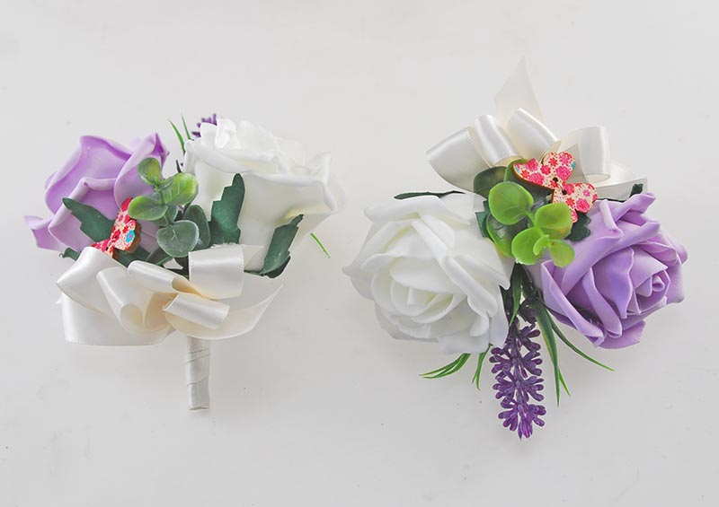 Lilac, Ivory Rose Butterfly and Lavender Wedding Flower Package with Brides Bouquet, Bridesmaids Posies, Grooms Buttonhole, Pin Corsages