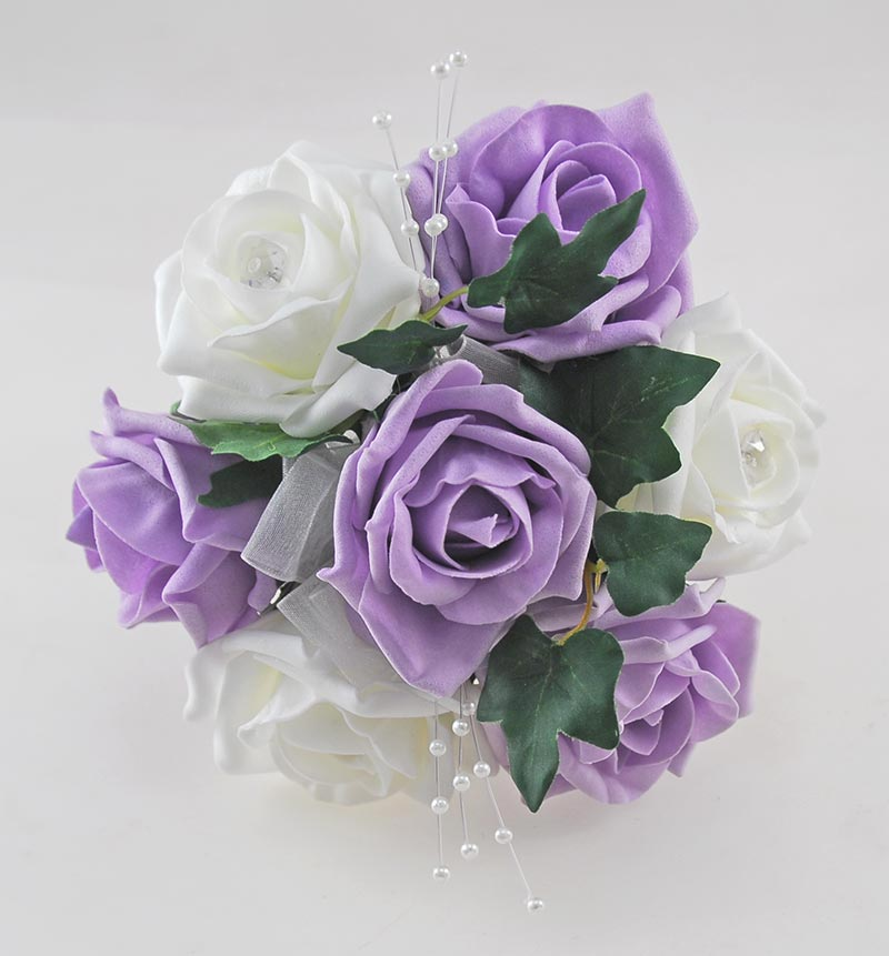 Lilac & Ivory Rose Flower Girl Wedding Posy with pearls