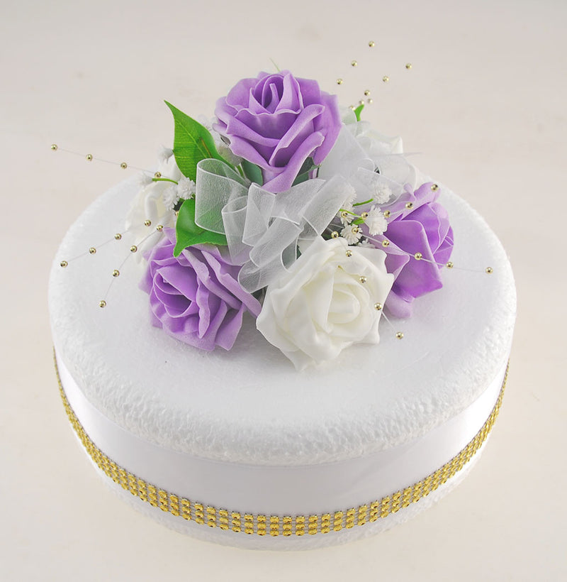 Lilac & Ivory Rose Wedding Cake Topper with Gold Pearls & Dragonflies